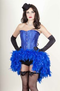 Blue Satin & Diamonte Corset Feather Dress (Crystal) * Kylie Minogue Style Showgirl Dress * Las Vegas Showgirl Costume, mardi gras feather costume